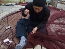 モジャコ網修理